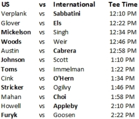 President's Cup Singles Matches Tee Times